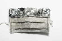 Load image into Gallery viewer, Pretty Designer Masks Sliver Metallic Woven Daisy Sequin Tirm