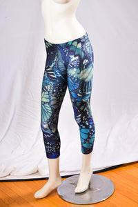 Butterfly Blue Leggings Front View