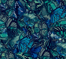 Load image into Gallery viewer, Blue Puff Sleeve On/Off Shoulder Tunic - Ocean Blue Butterfly Print