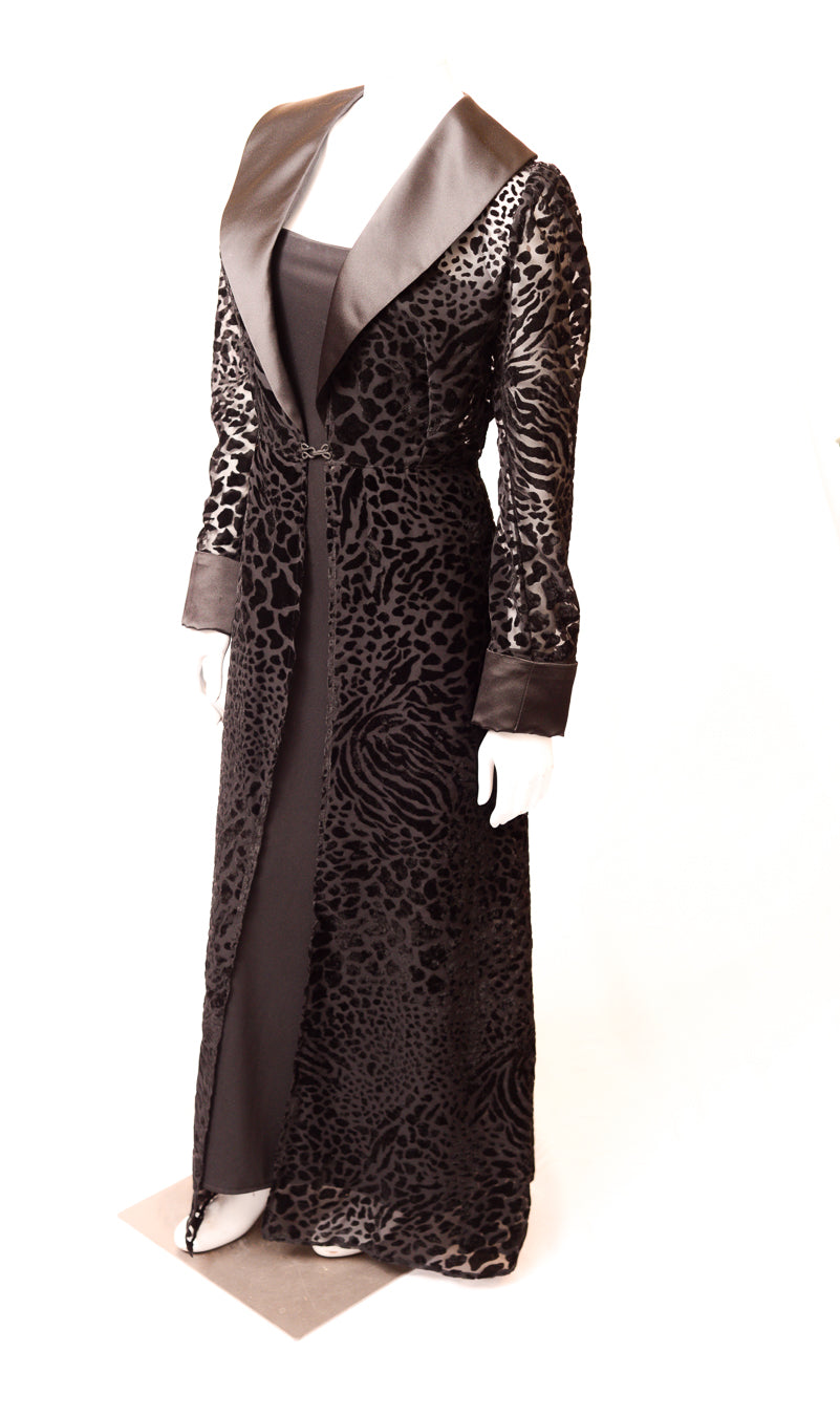 Burn-out Velvet Animal Print Maxi Length Duster
