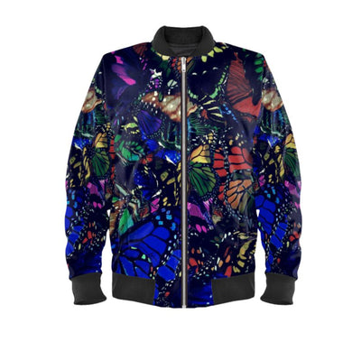 Men's bomber jacket in butterfly digital print.