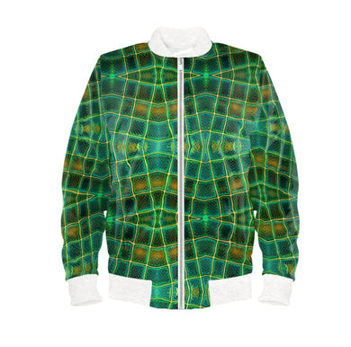 Men's bomber jacket in green glassblock digital print.