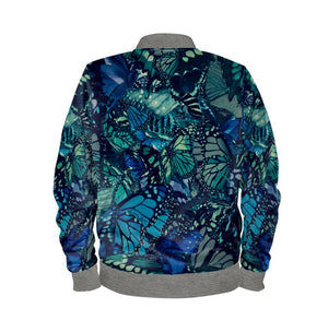 Men's Bomber Jacket Butterfly Digital Print Ocean's Blue
