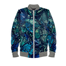 Load image into Gallery viewer, Men's Bomber Jacket Butterfly Digital Print Ocean's Blue