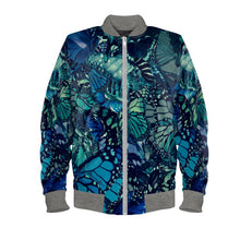 Load image into Gallery viewer, Women's Bomber Jacket in Unique Butterfly Digital Print.