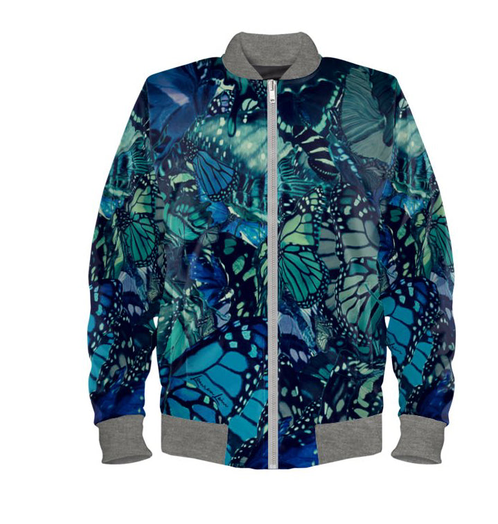 Women's Bomber Jacket in Unique Butterfly Digital Print.
