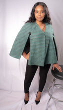 Load image into Gallery viewer, Teal Green Wool Designer Cape