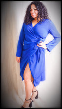Load image into Gallery viewer, Brilliant Blue Wrap Dress