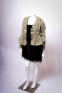 Cotton Camouflage Jacket with Peplum