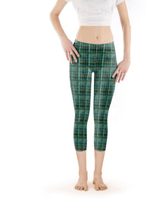 Capri Legging Low-Rise Green Glass Block Pattern