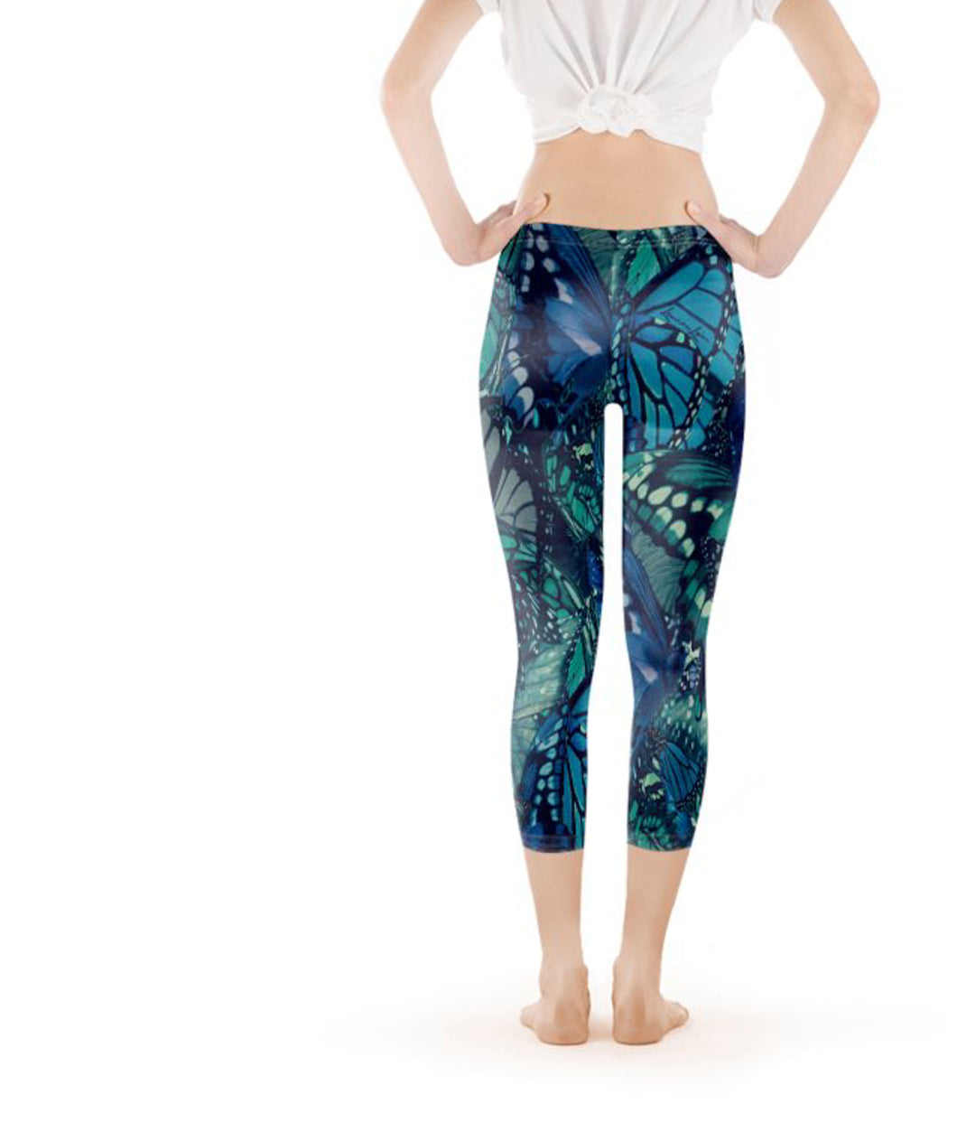 Capri Legging Low-Rise - Ocean's Blue Butterfly Print