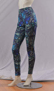High-waisted Ankle-Length Legging - Ocean Blue Butterfly Print