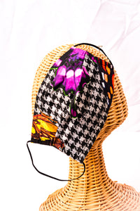 Masks Made from Original Digital Prints of Living Butterflies combined with Houndstooth Check