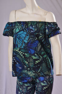 Blue Puff Sleeve On/Off Shoulder Tunic - Ocean Blue Butterfly Print