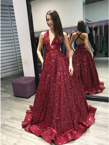 Sexy V neckline Sleeveless A line Long Red Sequined Prom Dresses Evening Gowns YP069
