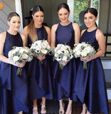 Sleeveless Navy Blue High Low Short Bridesmaid Dresses BD064