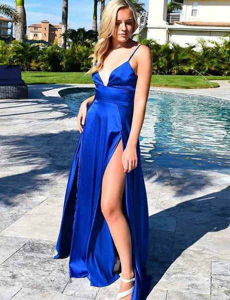 Royal Blue High Split Prom Dress V neckline Sexy Evening Party Gown PD0169