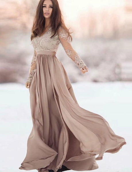 long-sleeves-champagne-prom-dress