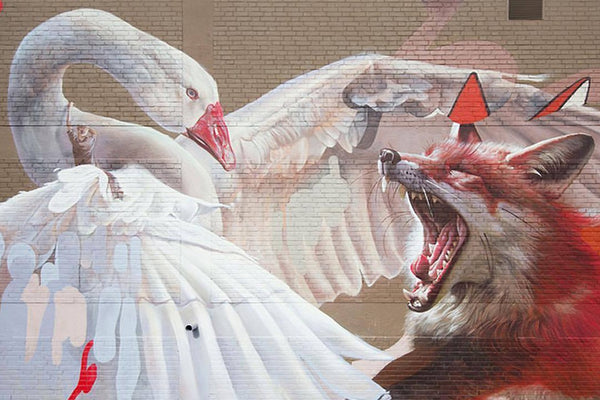 Swan and Fox streetart by Telmo Miel