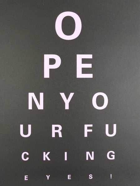 Alex Bucklee Eye Test - Pink on Black Limited print