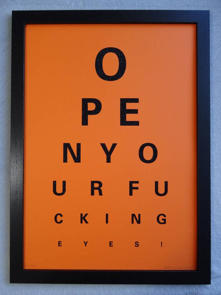 Alex Bucklee Eye Test - Black Diamond Dust On Orange Limited Edition Screen Print