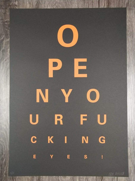 Alex Bucklee Eye Test - Orange on Black Limited print