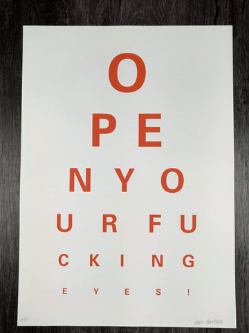 Alex Bucklee Eye Test - Orange on White limited print