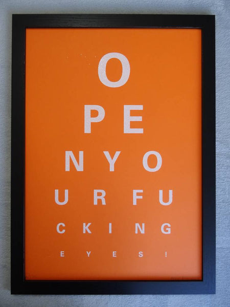Alex Bucklee Eye Test - White Diamond Dust On Orange Limited Edition Screen Print