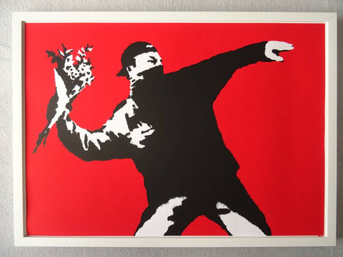 Banksy Love is in the Air Replica by Artist West Country Prince