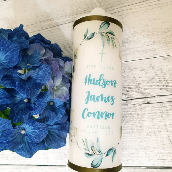 Christening Candle - Australian Leaves