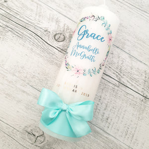 Christening Candle - Floral Wreath - Grace - no cross