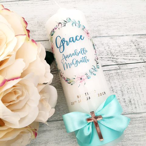 Christening Candle - Floral Wreath - Grace