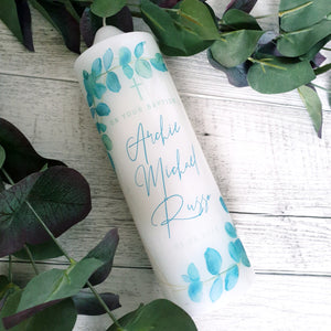 Christening Candle - Watercolour Blue Gum Leaves