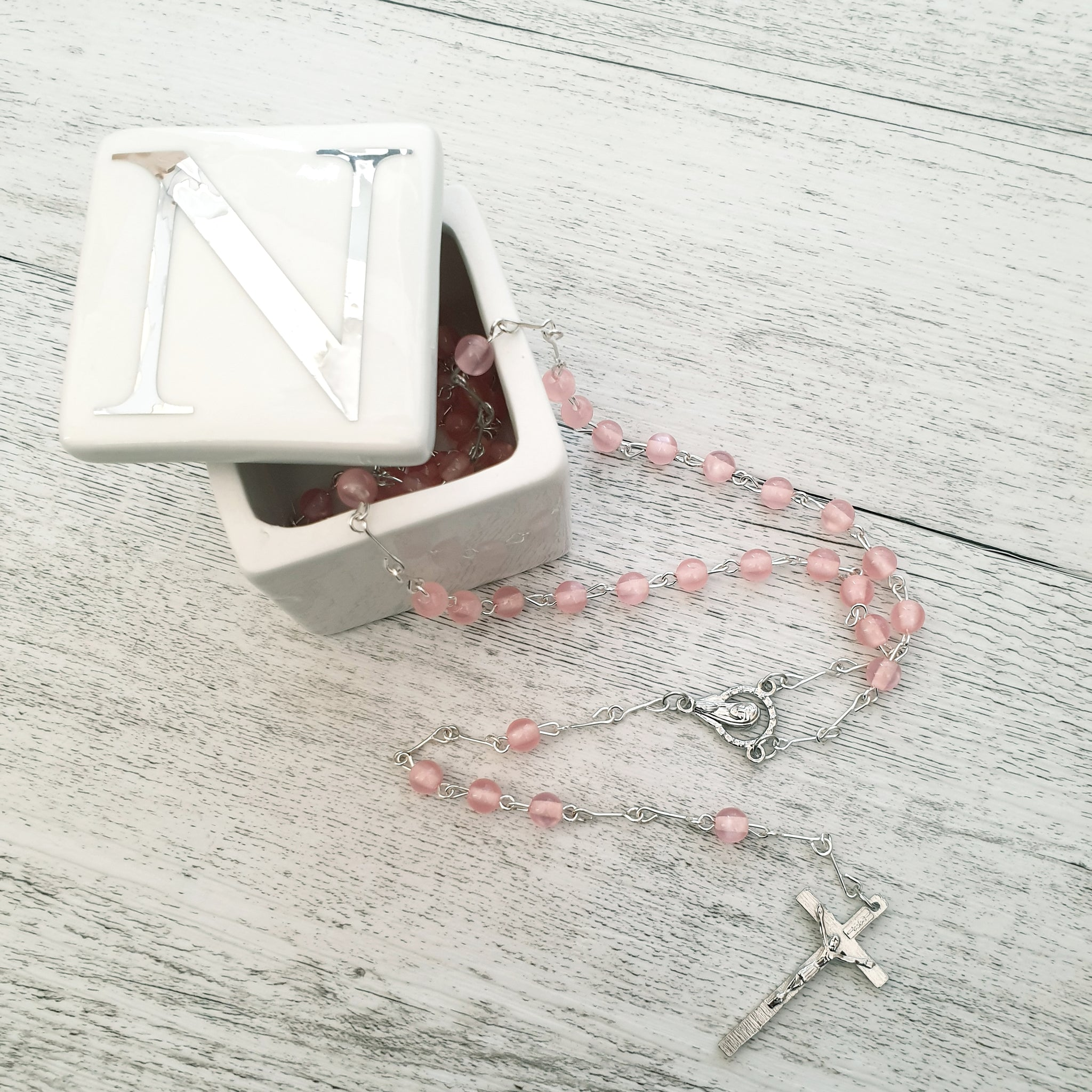 Rosary - Light Pink Round Poly Bead