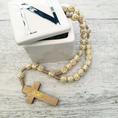 Rosary - Ivory & Gold Cross Poly Bead