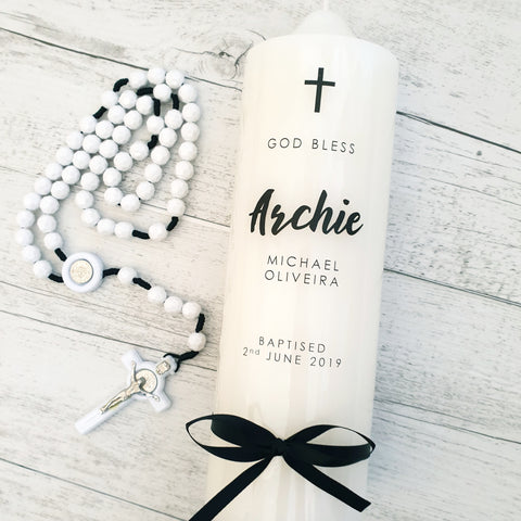Christening Candle - Monochrome