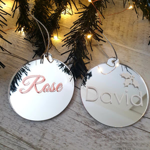 Christmas Bauble - Mirrored Silver Acrylic