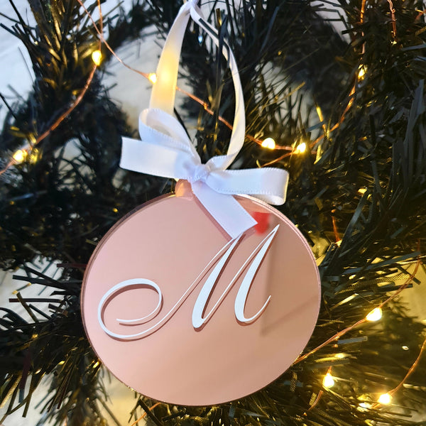 Christmas Bauble - Mirrored Rose Gold Acrylic