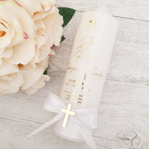 Christening Candle - Modern Minimalist with cross