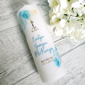 Christening Candle - Gold + Mint Florals