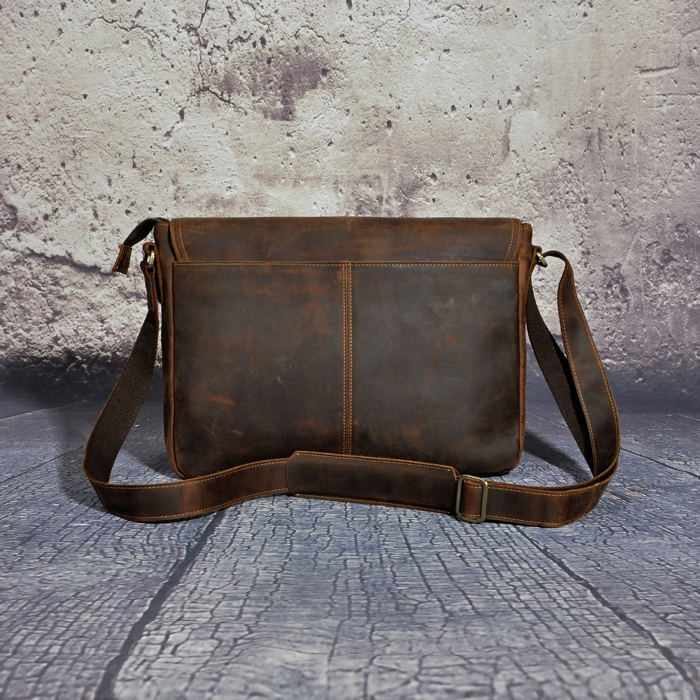 "Leather Laptop Messenger Bag for Men - Vintage 14"" Crossbody Satchel The Real Leather Company"
