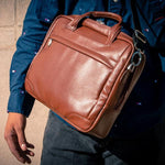 The Montclare 13 Inch Laptop Leather Messenger Bag Briefcase For Men