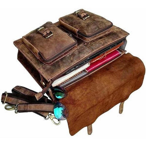 The Distressed Leather Messenger Bag For 15.6 Inch Laptops For Men