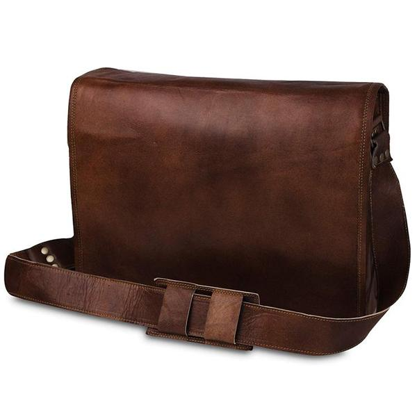 Mens Auth Real Leather Messenger Bags Laptop Briefcase Satchel Mens Bag School College University Gift Office Friend Bag Small Laptop Phone File Document Bag