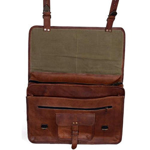 The Vintage Leather Messenger Bag For 15.6 Inch Laptops For Men