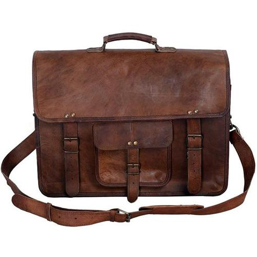 All Men/'s Genuine Vintage Brown Leather Messenger Shoulder Laptop Bag Briefcase