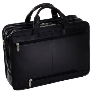 Black Leather Briefcase for Men - Vintage Classic 15 Inch Laptop Bag Back