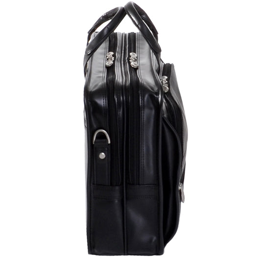 Black Leather Briefcase for Men - Vintage Classic 15 Inch Laptop Bag Side