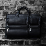 Black Leather Briefcase for Men - Vintage Classic 15 Inch Laptop Bag on Brick