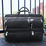 Black Leather Briefcase for Men - Vintage Classic 15 Inch Laptop Bag Front